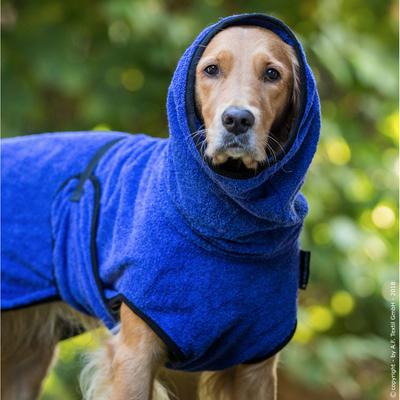Trockenmantel Hund fit4dogs Dryup Cape, blau - XL: 72 cm