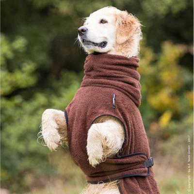 Trockenmantel Hund fit4dogs Dryup Cape, braun - S: 58 cm
