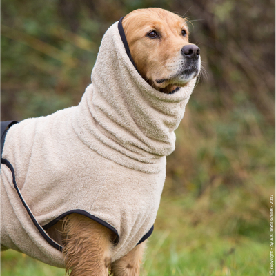 Trockenmantel Hund fit4dogs Dryup Cape, sand - L: 67 cm