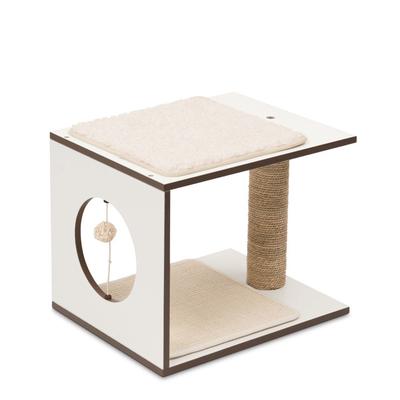 Vesper V-Stool modularer Katzenspielplatz, Weiß, 48x48x38cm