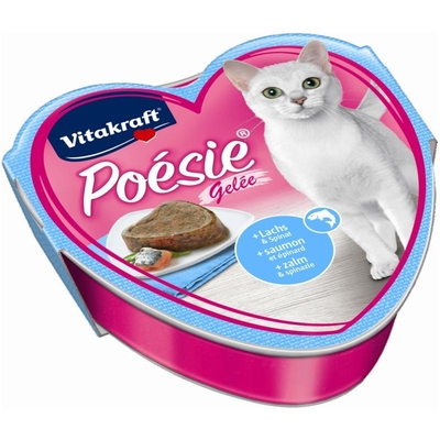 Vitakraft Poésie Katzenfutter, Gelée Lachs + Spinat 85 g Schale