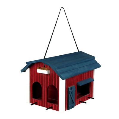 Vogelfutterhaus Scheune zum Aufhängen rot aus Holz