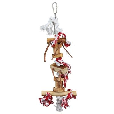 TRIXIE Vogelspielzeug aus Holz mit Lederbändchen