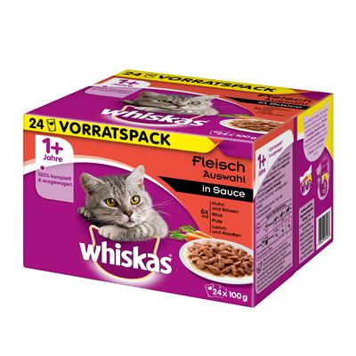 Whiskas Frischebeutel saftige Häppchen in Sauce Katzenfutter, 24x100g, Herzhaftes Ragout in Sauce