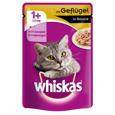 Whiskas Portionsbeutel - Adult 1+ in Sauce, Geflügel 24x100g