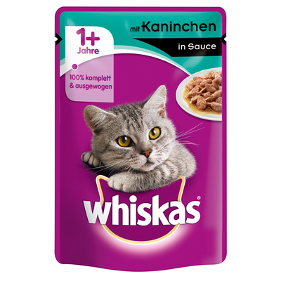 Whiskas Portionsbeutel - Adult 1+ in Sauce, Kaninchen 24x100g