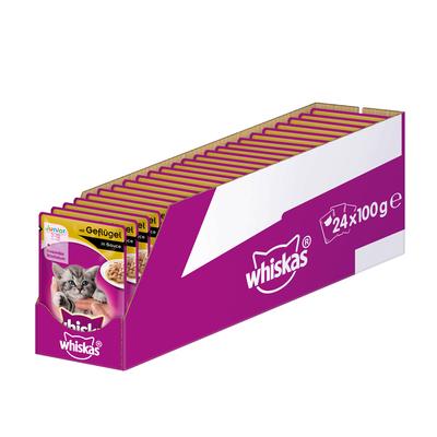 Whiskas Portionsbeutel Multipack Junior Katzenfutter, Geflügel in Sauce 24x100g