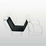 Vordersitz, Einzelsitz hinten, 0,65 × 1,45 m, schwarz/beige