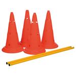 orange - ø 30 × 50 cm, 100 cm - Maße: ø 30 × 50 cm, 100 cm Inhalt: 4 Pylonen, 2 Stangen, orange/gelb
