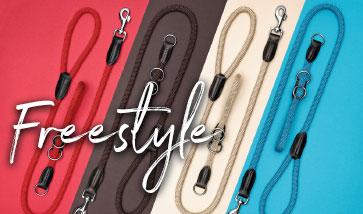 Die beliebten Freestyle Hundeleinen und Halsbänder aus Tau.